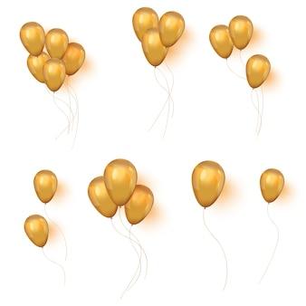 Conjunto de balões dourados brilhantes para seu projeto