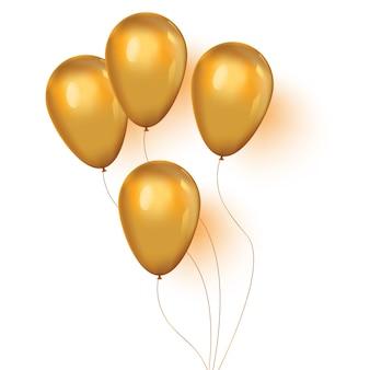 Conjunto de balões dourados brilhantes
