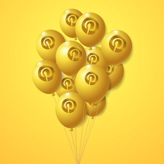 Conjunto de balões dourados de logotipo do pinterest