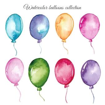 Conjunto de balões em aquarela