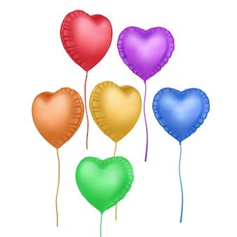 Conjunto de balões em forma de coração. elemento de decoração festiva para o dia dos namorados