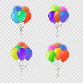Conjunto de balões isolados realistas para celebração e decoração em fundo transparente. conceito de feliz aniversário, aniversário e casamento.