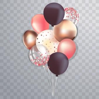 Conjunto de balões metálicos e transparentes brilhantes realistas