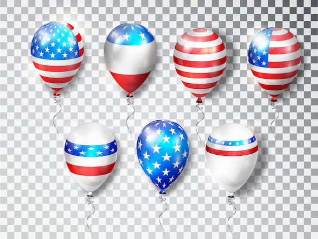 Conjunto de balões patriótico eua. balões coloridos especialmente para o quarto de julho. dia memorial. cores nacionais do país.