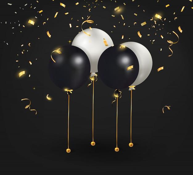 Conjunto de balões pretos, brancos com confetes ouro.