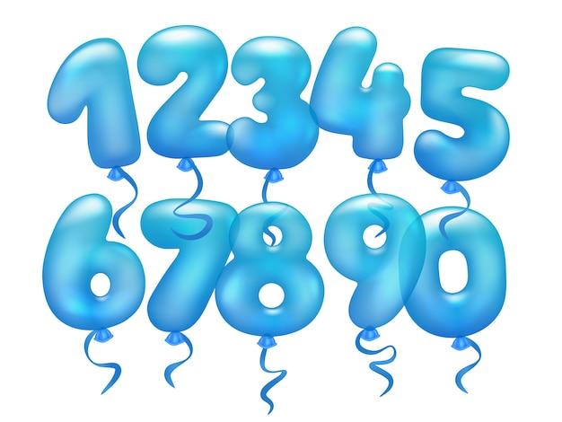 Conjunto de balões realistas 3d. de 0 a 9 numeral