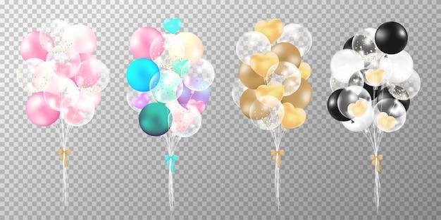 Conjunto de balões realistas coloridos sobre fundo transparente.