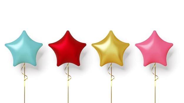 Conjunto de balões realistas coloridos