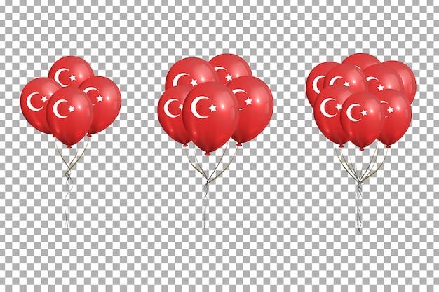 Conjunto de balões realistas com bandeira turca para 29 de outubro, ekim cumhuriyet bayrami, dia da república na turquia para decoração no fundo transparente.