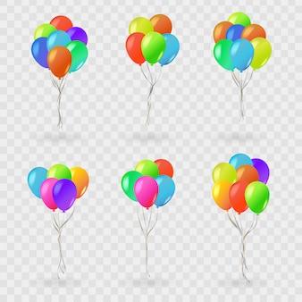 Conjunto de balões realistas para celebração e decoração em fundo transparente. conceito de feliz aniversário, aniversário e casamento.