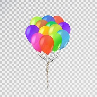 Conjunto de balões realistas para celebração e decoração em fundo transparente.
