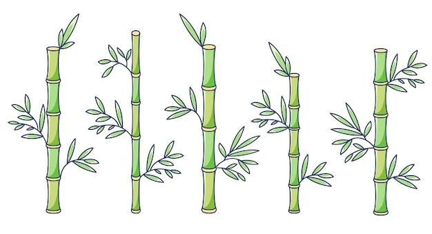 Conjunto de bambu em estilo cartoon