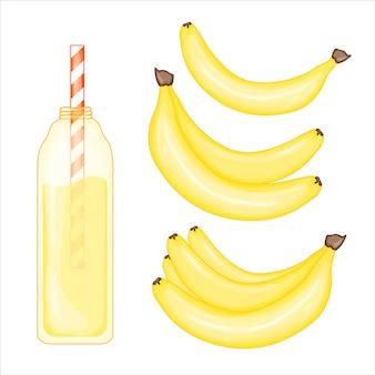 Conjunto de banana e batido