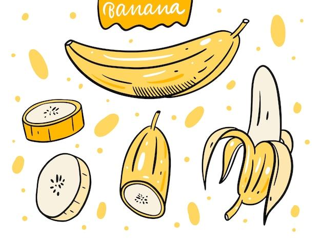Conjunto de banana inteira e fatia.