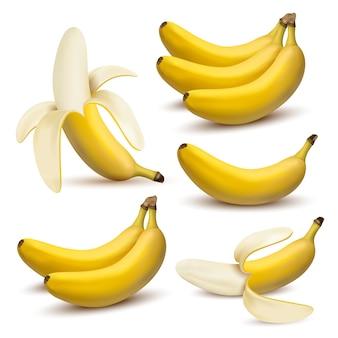 Conjunto de bananas de ilustração realista de vetor 3d