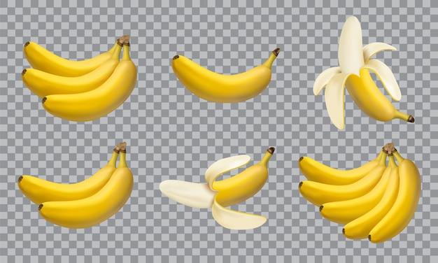 Conjunto de bananas de ilustração realista, ícones de vetor 3d