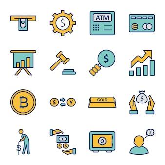 Conjunto de banca de ícones isolados de elementos