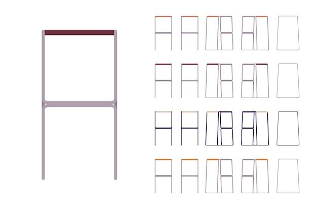 Conjunto de banco de bar. móveis para casa e café para sentar e relaxar, design contemporâneo de metal, kit de jantar ou cozinha. ilustração em vetor estilo simples dos desenhos animados isolada no fundo branco, diferentes pontos de vista, cores