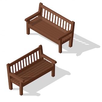 Conjunto de banco de madeira do parque.
