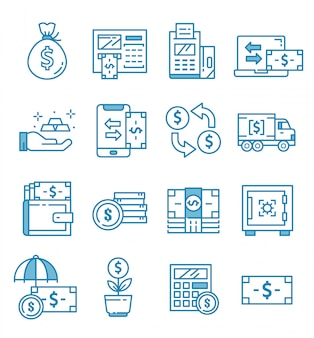 Conjunto de banco, ícones bancários com estilo de estrutura de tópicos