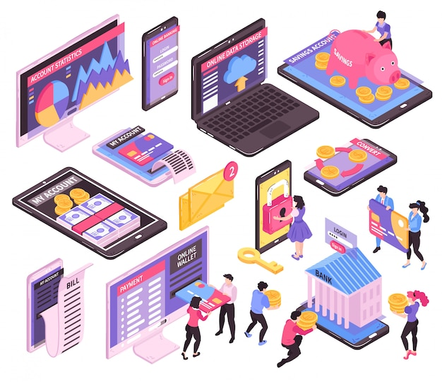 Conjunto de banco móvel on-line isométrico de imagens isoladas com telas de dispositivos eletrônicos e ícones de infográfico financeiro