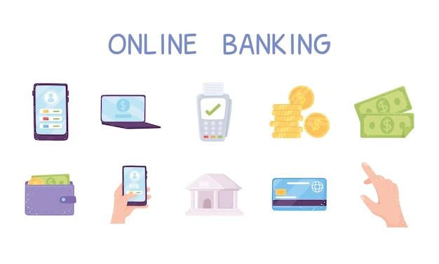 Conjunto de banco online, moedas bancárias, contas de dinheiro, carteira, smartphone e, laptop, ilustração
