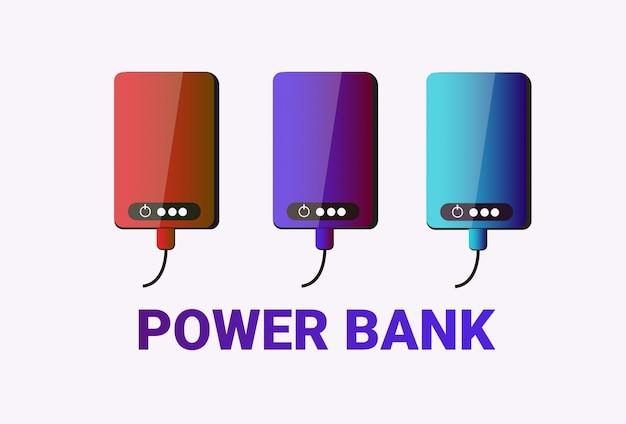 Conjunto de bancos de energia bateria portátil colorida para cobrança de cobrança