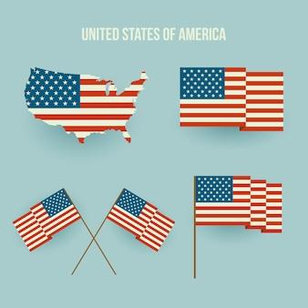 Conjunto de bandeira americana e mapa. design plano