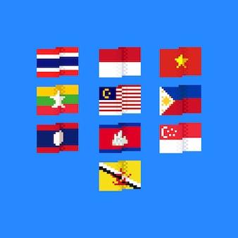 Conjunto de bandeira asean pixel.