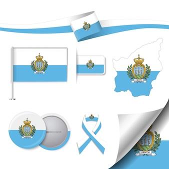 Conjunto de bandeira com elementos san marino