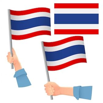 Conjunto de bandeira da tailândia na mão