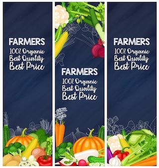 Conjunto de bandeira de agricultor de vegetais orgânicos