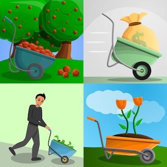 Conjunto de bandeira de carrinho de mão de jardim, estilo cartoon