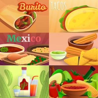 Conjunto de bandeira de comida mexicana, estilo cartoon