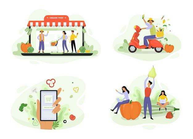 Conjunto de bandeira de conceito de entrega de alimentos orgânicos. peça comida verde fresca