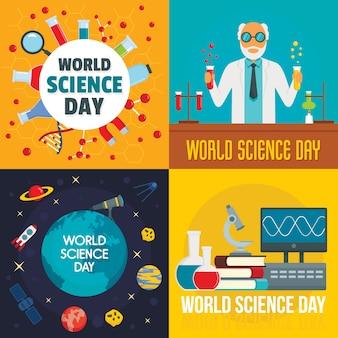 Conjunto de bandeira de dia de ciência.