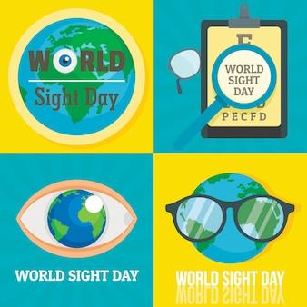 Conjunto de bandeira de dia mundial da visão
