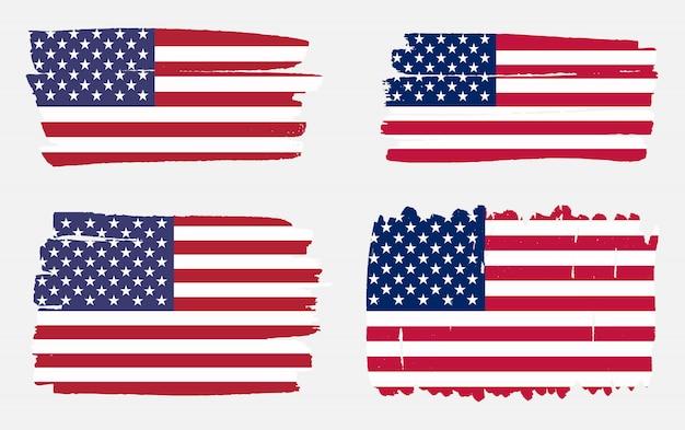 Conjunto de bandeira de eua de traçado de pincel