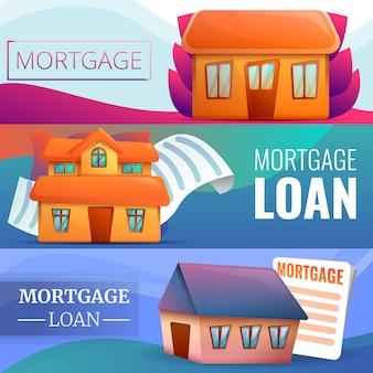 Conjunto de bandeira de hipoteca, estilo cartoon