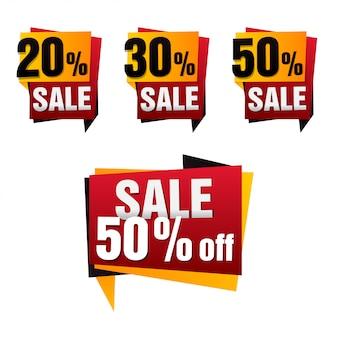 Conjunto de bandeira de papel de venda. fundo de venda. grande venda. marca de venda. cartaz de venda. oferta especial