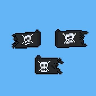 Conjunto de bandeira de pirata dos desenhos animados de pixel art.