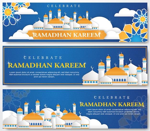 Conjunto de bandeira de ramadhan kareem