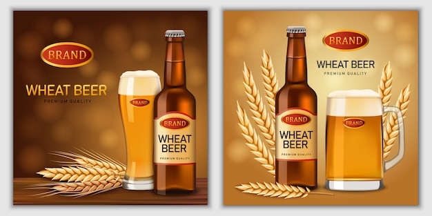 Conjunto de bandeira de vidro de garrafas de cerveja