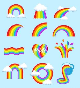 Conjunto de bandeira do arco-íris lgbt
