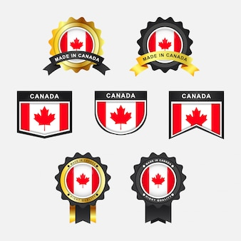 Conjunto de bandeira do canadá e feitos em etiquetas de distintivo de emblema do canadá