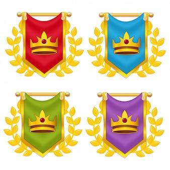 Conjunto de bandeira do cavaleiro com coroa e laurel