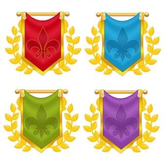 Conjunto de bandeira do cavaleiro com laurel e símbolo
