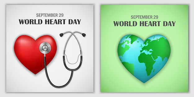 Conjunto de bandeira do mundo dia mundial do coração