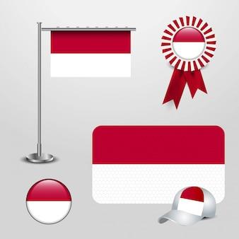Conjunto de bandeira do país da indonésia
