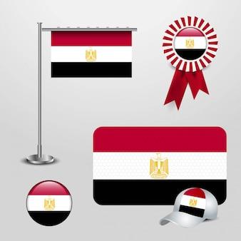 Conjunto de bandeira do país de egipto